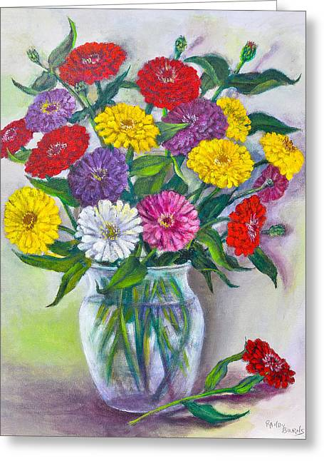 Old Fashioned Zinnias Greeting Card
