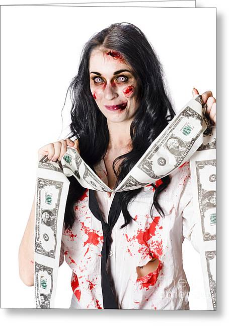 Zombie Banker With Forged American Dollars Greeting Card by Jorgo Photography - Wall Art Gallery