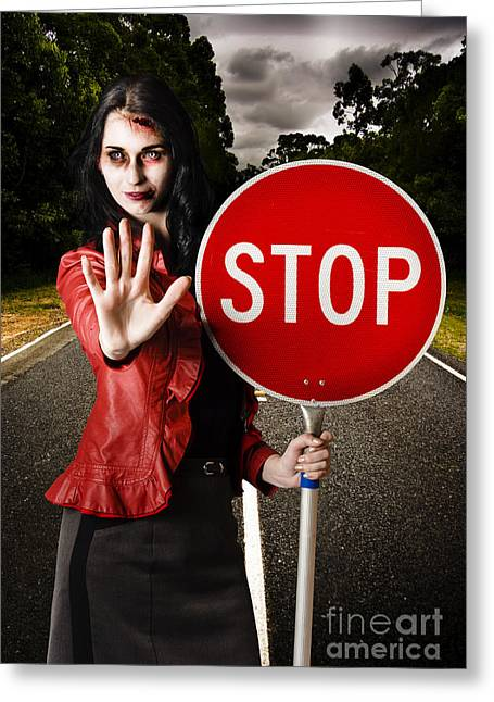 Zombie Girl Holding Stop Sign At Dead End Greeting Card by Jorgo Photography - Wall Art Gallery