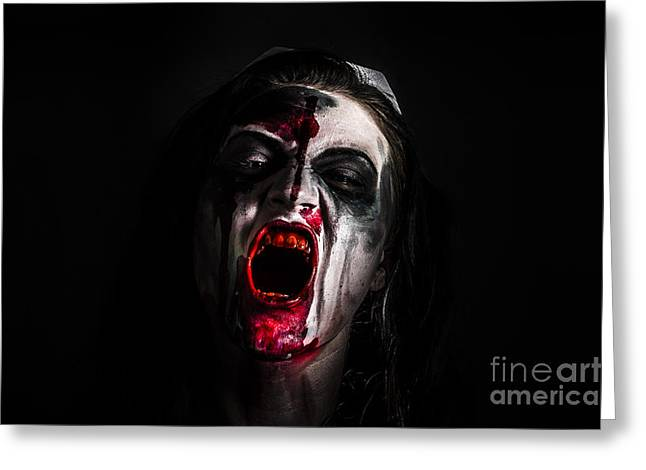 Zombie Girl Screaming Out In The Darkness Greeting Card