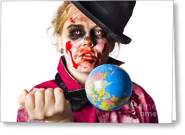 Zombie Holding Knife In Globe Greeting Card by Jorgo Photography - Wall Art Gallery