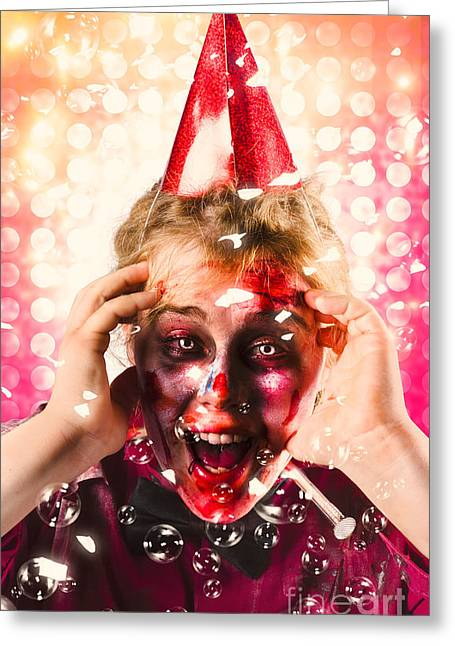 Zombie In Party Hat. Halloween Party Celebration Greeting Card