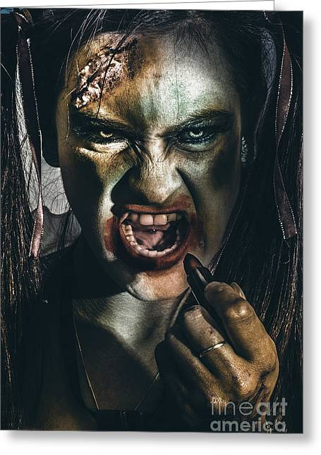 Zombie Prom Queen Woman Putting On Lipstick Makeup Greeting Card by Jorgo Photography - Wall Art Gallery