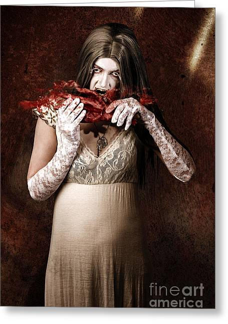 Zombie Vampire Woman Eating Human Hand Greeting Card by Jorgo Photography - Wall Art Gallery