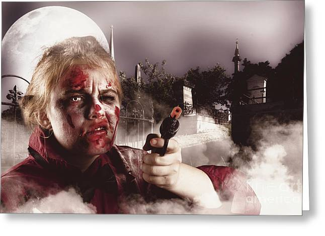 Zombie With Gun In Graveyard. Full Moon Nightmare Greeting Card by Jorgo Photography - Wall Art Gallery