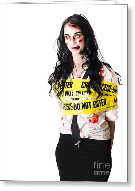 Zombie Woman Taped Up Greeting Card