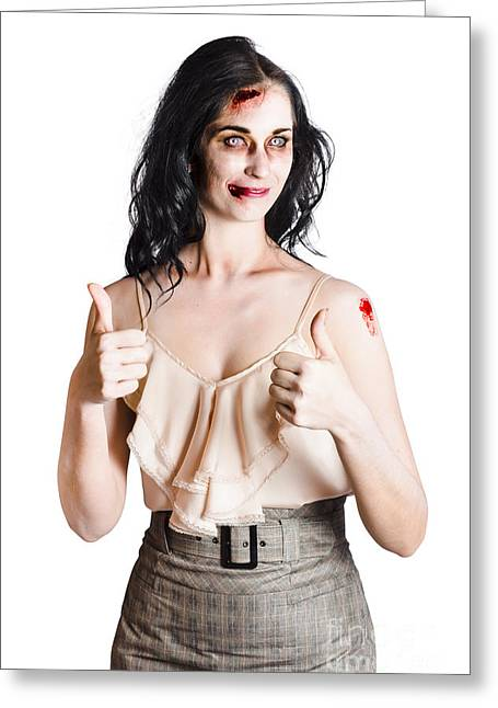 Zombie Woman With Thumbs Up Greeting Card by Jorgo Photography - Wall Art Gallery