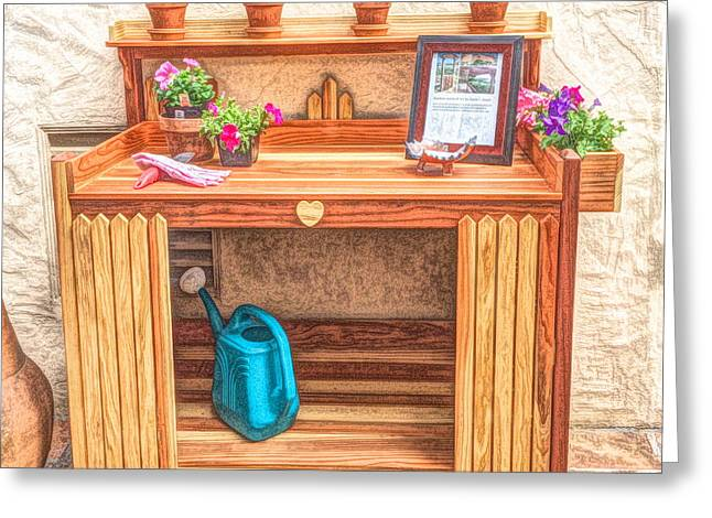 10 - Potting Table Greeting Card by Pat Harrison