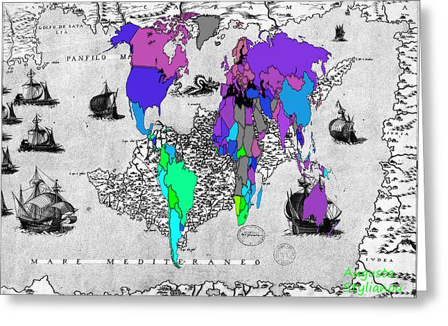 World Map And Ancient Cyprus Greeting Card by Augusta Stylianou