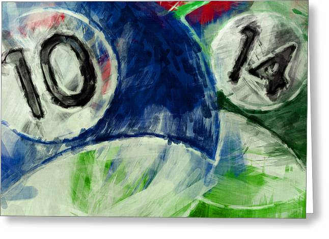 10 And 14 Billiards Abstract Greeting Card