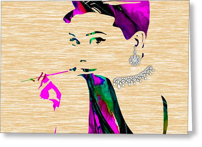 Audrey Hepburn Diamond Collection Greeting Card by Marvin Blaine