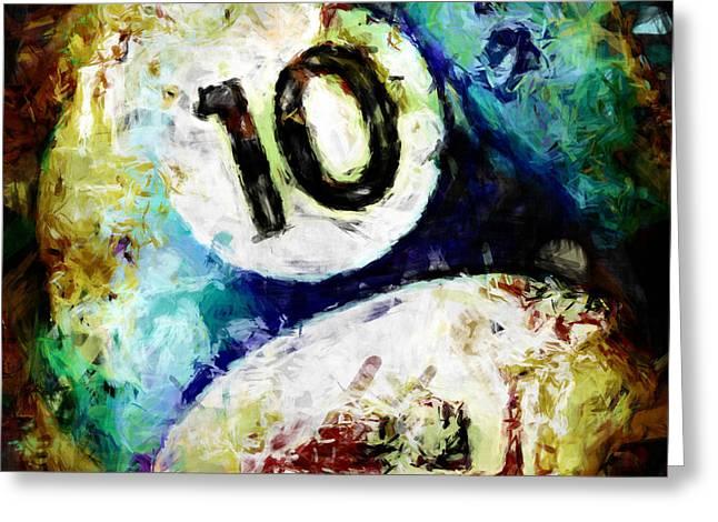10 Ball Billiards Abstract Greeting Card