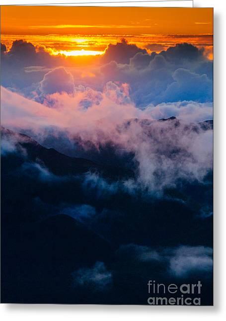 Clouds At Sunrise Over Haleakala Crater Maui Hawaii Usa Greeting Card
