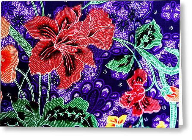 Colorful Batik Cloth Fabric Background  Greeting Card by Prakasit Khuansuwan