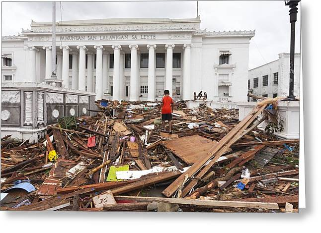 Destruction After Super Typhoon Haiyan Greeting Card by Jim Edds