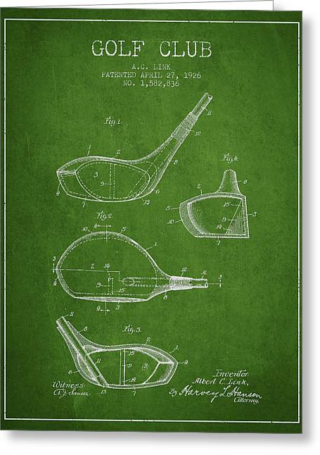 Golf Club Patent Drawing From 1926 Greeting Card by Aged Pixel