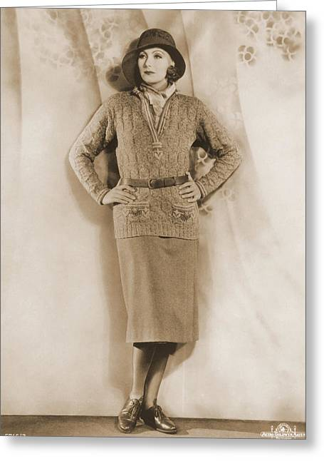 Greta Garbo, Hollywood Movie Star Greeting Card by Photo Researchers