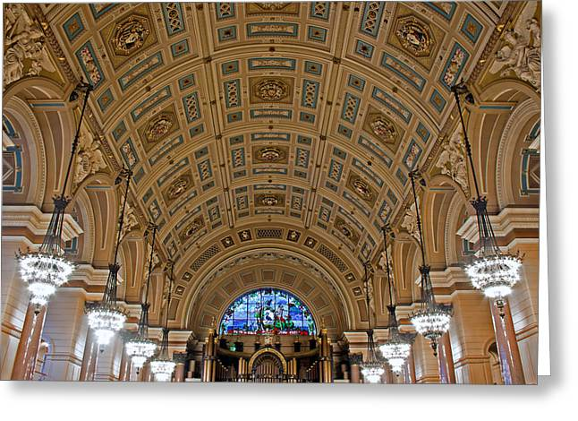 Interior Of St Georges Hall Liverpool Uk Greeting Card by Ken Biggs