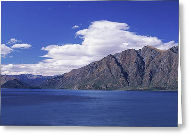 Lake With Mountain Range Greeting Card by Panoramic Images