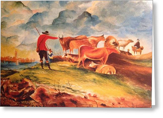 Greeting Card featuring the painting Landscape by Egidio Graziani