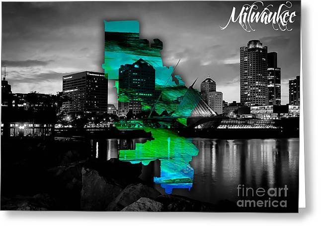 Milwaukee Map And Skyline Watercolor Greeting Card