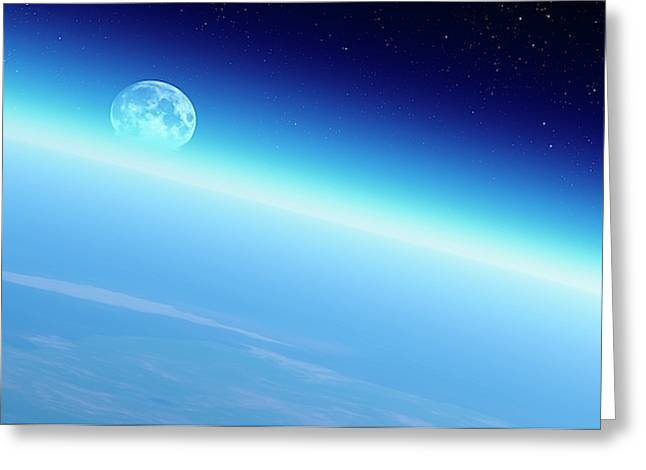 Moonrise Over Earth Greeting Card