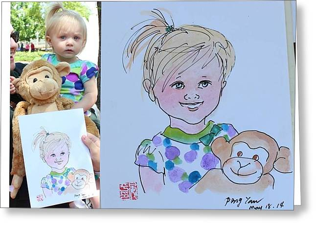 Greeting Card featuring the painting Portrait Sketch by Ping Yan