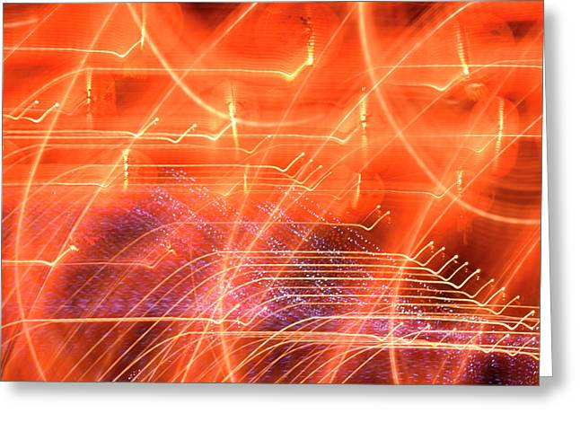 Random Light Trails As Abstract Art Greeting Card by Michael Crawford-hick