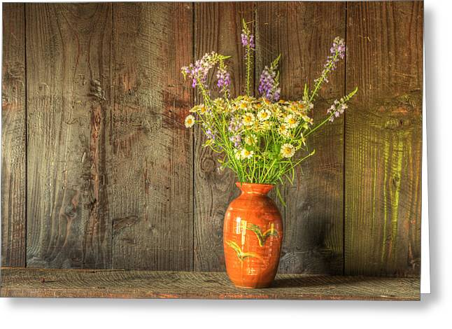 Retro Style Still Life Of Dried Flowers In Vase Against Worn Woo Greeting Card