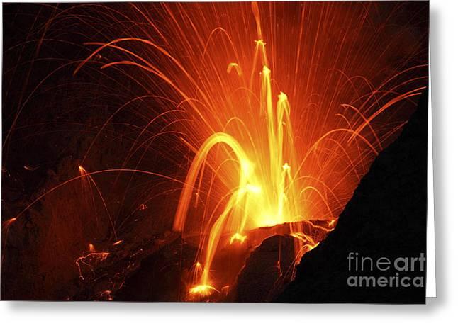 Strombolian Type Eruption Of Batu Tara Greeting Card