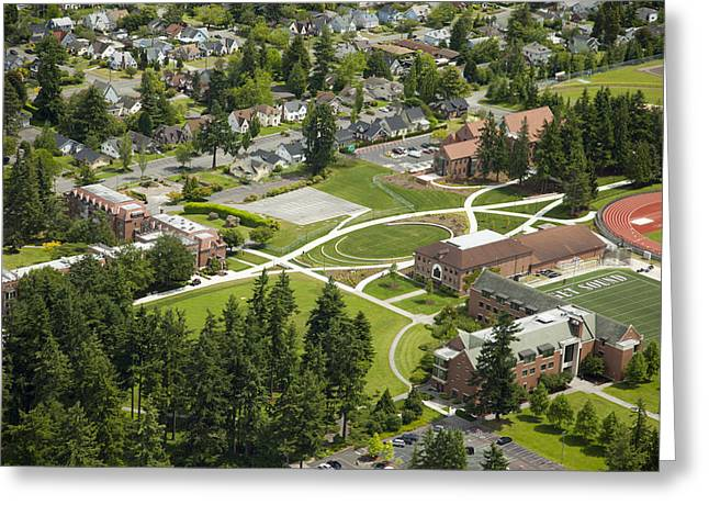 University Of Puget Sound U.p.s., Tacoma Greeting Card by Andrew Buchanan/SLP