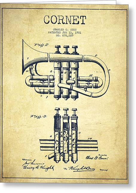 Cornet Patent Drawing From 1901 - Vintage Greeting Card