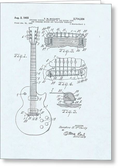 Guitar Patent Drawing On Blue Background Greeting Card