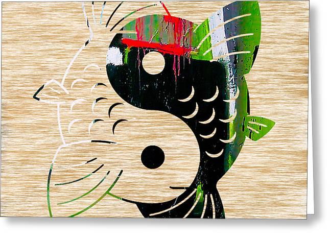 Yin Yang Koi Greeting Card by Marvin Blaine