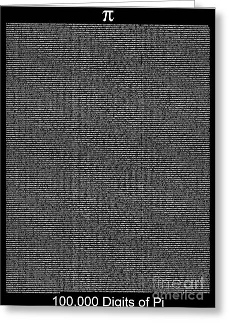 100 000 Digits Of Pi Greeting Card by Stefano Senise