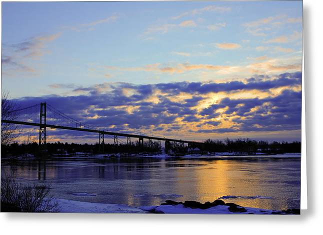 1000 Island Bridge Sunrise Greeting Card by David Simons