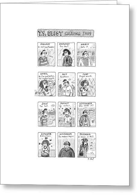 T.s. Eliot Calendar Greeting Card by Roz Chast