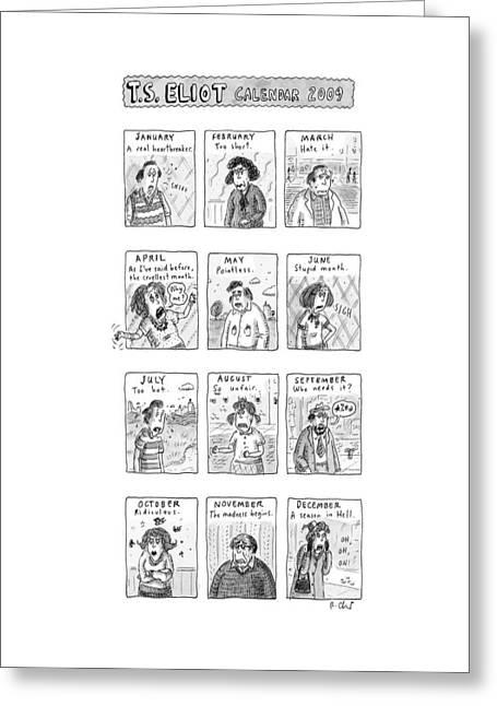 T.s. Eliot Calendar Greeting Card
