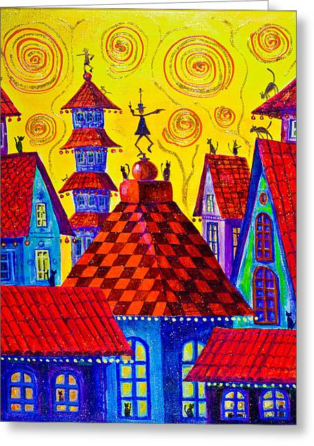 1099 Magic Town 4 - Gilded Greeting Card