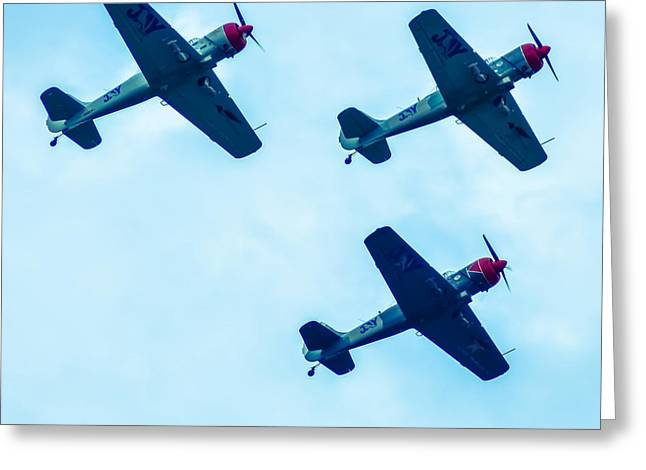 Action In The Sky During An Airshow Greeting Card by Alex Grichenko