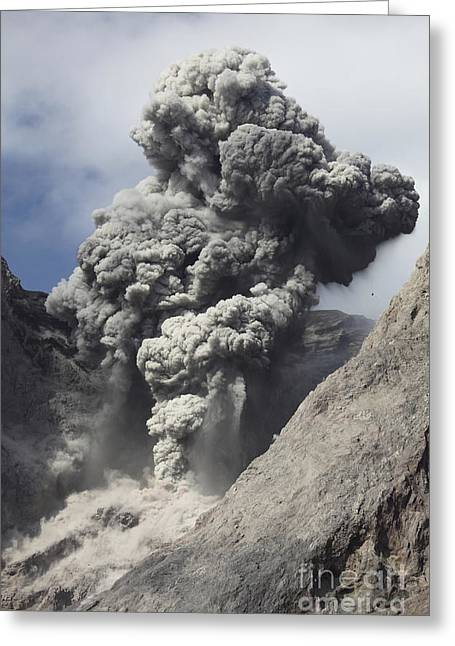 Ash Cloud Rises From Crater Of Batu Greeting Card by Richard Roscoe