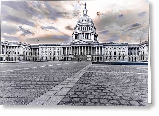 Greeting Card featuring the photograph Capitol Building by Peter Lakomy