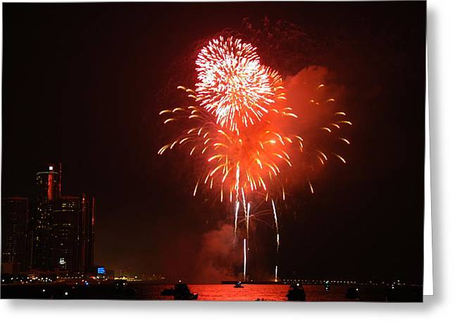 Detroit Fireworks Greeting Card