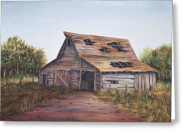 Rusty Roof Greeting Card by Frances Lewis