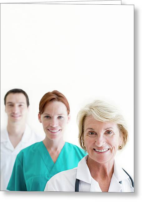 Medical Staff Greeting Card by Ian Hooton/science Photo Library