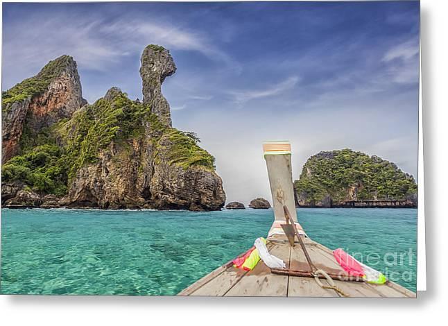 Railay Beach  Greeting Card by Anek Suwannaphoom