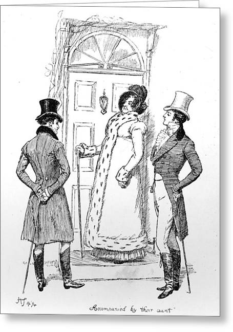 Scene From Pride And Prejudice By Jane Austen Greeting Card by Hugh Thomson