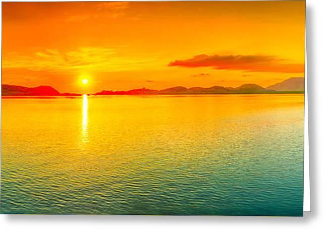 Sunset Panorama Greeting Card by MotHaiBaPhoto Prints