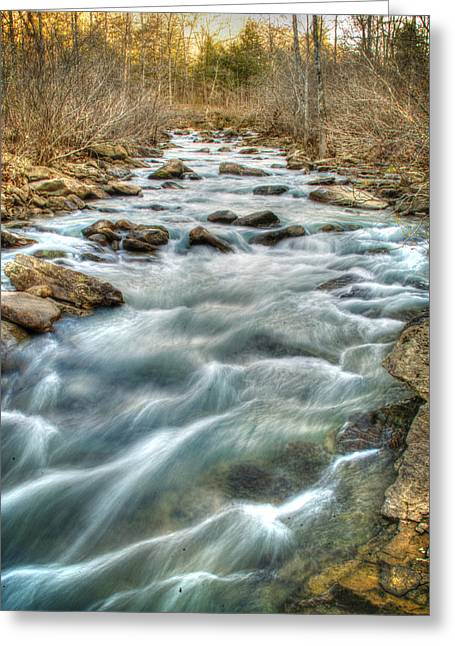 1104-5570 Falling Water Creek  Greeting Card by Randy Forrester