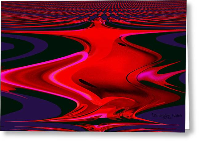 1109 - Abstract Room Crimson Red Greeting Card by Irmgard Schoendorf Welch